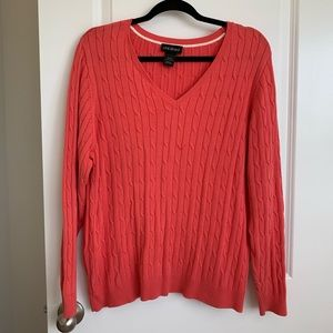 Lane Bryant Pink Cable Knit Sweater V-Neck